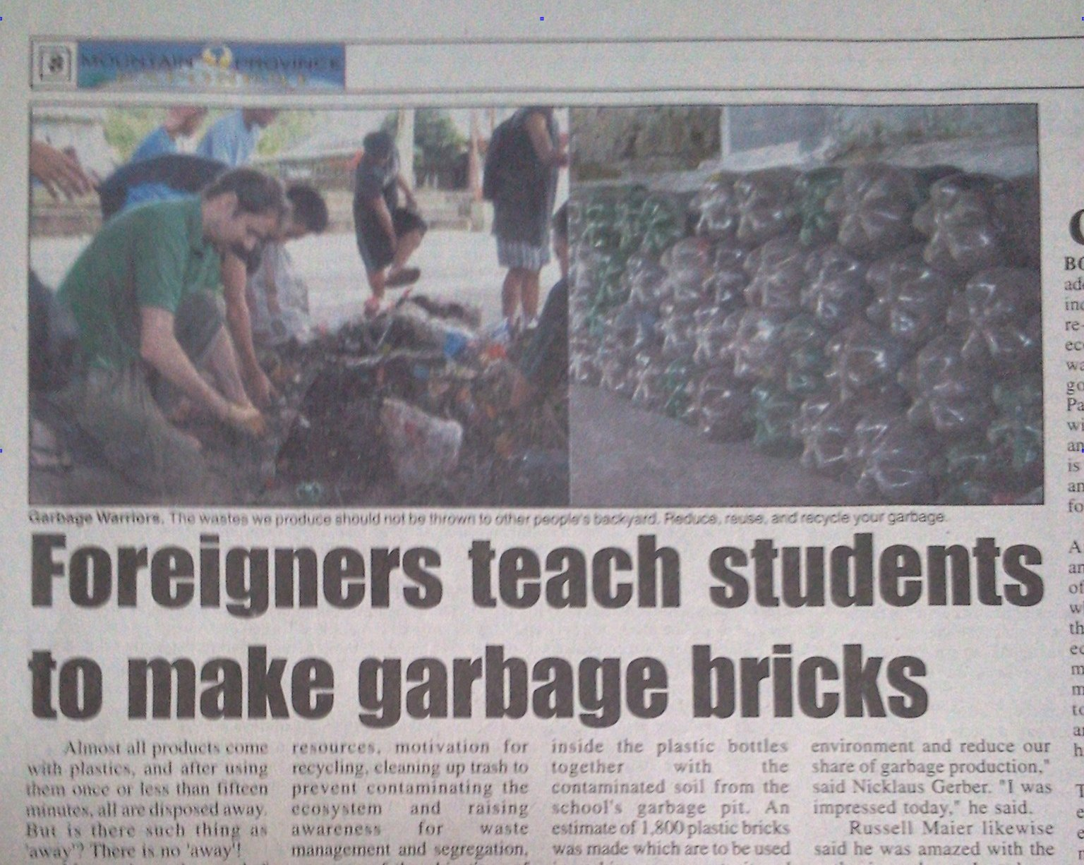 Garbage Heroes – bottle brick making featured in local paper.