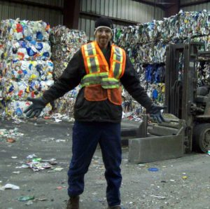 Me back at my stint working in a recycling factory in Canada.